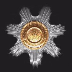 The Order of the Leader- Second Class or Sardar-i-Ali, breast star military (L) and civil (R).     Nishan-i-Istiqlal (the Order of Independence): founded by King Habibu'llah Shah in 1911, reorganised by King Amanu'llah in 1924, retained and modified in 1929. Awarded in two divisions (crossed swords for war services and without swords for service in peacetime) and four classes.