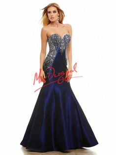 Mac Duggal Gorgeous sweetheart strapless mermaid prom dress with crystal corset bodice