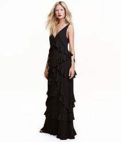 Maxi-jurk met volants | Zwart | Dames | H&M NL