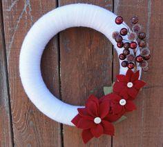 Christmas Wreath Holiday Wreath Poinsettia by GoGreenTreasures, $31.00