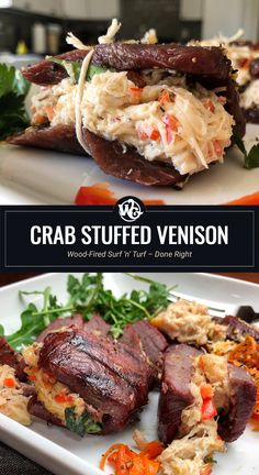 Wood-Fired Surf 'n' Turf – Done Right I'm all over this combo of fresh Crab tucked into these butterflied Venison Backstrap Steaks. Elk Steak, Venison Steak, Beef, Venison Meals, Venison Recipes, Venison Backstrap, Wild Game Recipes, Surf And Turf, Grilled Meat