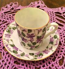 Demitasse Cup Saucer Teacup Floral Violets Ivy Lavender Green