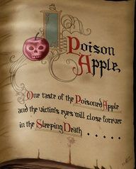 From the spell book of the evil queen. The design of the hags spell book are copyright of Disney! Art Disney, Disney Love, Disney Magic, Disney And Dreamworks, Disney Pixar, Fortes Fortuna Adiuvat, Poison Apples, Seven Dwarfs, Disney Aesthetic
