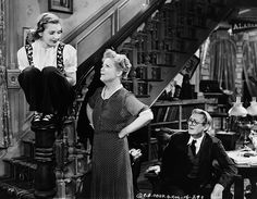 Jean Arthur as granddaughter Alice Sycamore, Spring Byington as daughter Penny Sycamore, and Lionel Barrymore as Grandfather Martin Vanderhof in the 1938 film You Can't Take It with Y