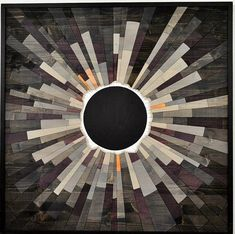 Welcome to Rising Sun Woodwork, wooden wall art inspired by the beauty of space and astronomy. Name: Grey Matter, an eclipse Size: 36x36 Availability: Made to order This is a 3x3 version in grey of the eclipse I made for HGTVs smart home giveaway in Raleigh NC. All pieces of art