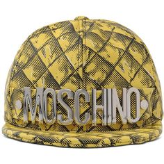 Moschino Hat (605 CAD) ❤ liked on Polyvore featuring accessories, hats, yellow, yellow hat, moschino hat, moschino, logo hats and sun visor