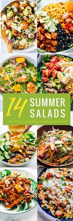 These 14 epic summer salad recipes are all you need to battle the heat while still eating healthy. And I don't mean eating bird seed healthy, but flavah-bomb salad recipes that are meals-by-themselves. These salad recipe ideas have recipes for chicken salads, pasta salads, whole grain salads, vegetarian salads, and salads dressings. #salad #recipes #healthy #fastdinners #lunch #quick