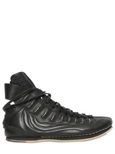 Atoserabu (ARTSELAB) black calf sneakers ARTSELAB - RIB BONES LEATHER HIGH TOP SNEAKERS - BLACK