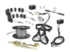 The ROGUE PRO Zip Line Kit includes 150-ft spool of cable, free mount ROGUE trolley, riding gear, bungee brake, safety stop block, installation tools and eco-friendly tree saver blocks.