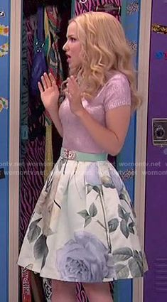 Liv's metallic pink top and rose print skirt on Liv and Maddie.  Outfit Details: http://wornontv.net/51130/ #LivandMaddie