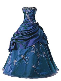 39efaff354 Vantexi Womens Silver Embroidery Beaded Princess Evening Ball Gown Blue 8     BEST VALUE BUY on Amazon