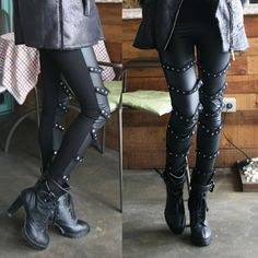 0415523ae1a61 Womens Ladies Punk Rock Black Leggings Pants with Circular Stud Straps on  front