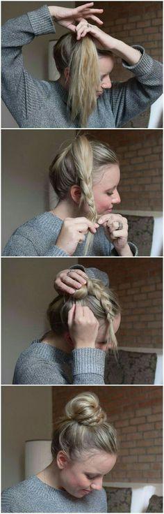 BRUN: Half Braid, Half Bun – Halb Dutt, Halb Geflochten BRUN – helped braid, helped bun … so fast and easy can imitate the sweet Dutt each. Step-by-step instructions-braided hair-hair braiding-hairstyle-hairstyle-practical hairstyle for everyday life Cute Simple Hairstyles, Pretty Hairstyles, Braided Hairstyles, Hairstyle Ideas, Hairstyle Tutorials, Easy Hairstyle, School Hairstyles, Step By Step Hairstyles, Messy Bun Tutorials