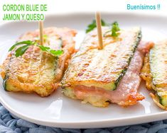 CORDON BLUE DE CALABACí­N CON JAMON Y QUESO, RIQUíSIMOS Real Food Recipes, Dessert Recipes, Healthy Recipes, Good Food, Yummy Food, Cordon Bleu, Lunch Snacks, Cooking Time, Kids Meals