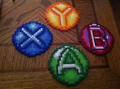 B,A,X,&Y button coasters perler beads by Kandy_kitty