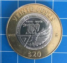 Moneda de veinte pesos, 100 años de la Fuerza Aérea Mexicana
