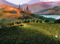 """The Maze"" Painted by Jim Salvati, this image of the maze outside of Hogwarts which is intended as the final task of the Tri-Wizard competition, appears in Harry Potter and The Goblet of Fire, fourth in a series of novels created by acclaimed writer, JK Rowling. 