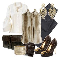 """""""02.02.2009"""" by desdeportugal ❤ liked on Polyvore featuring M.i.h Jeans, Giuseppe Zanotti, Hermès, Monsoon, Ann Taylor, Wet Seal, Isharya, brown, fur and winter"""