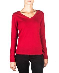 Damen Kaschmir Pullover V-Ausschnitt rot front
