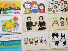 Items similar to Set of 5 Minifanfan Illustration Postcard Set - Pick any 5 designs - Postcard Collection - Horizontal Postcards on Etsy Children's Literature, Postcards, Nursery, Graphic Design, Comics, Drawings, Notebooks, Illustration, Stationary