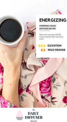 Morning Magic Diffuser Recipe with dTERRA Elevation and Wild Orange. Use this energizing diffuser recipe when you need to add a little pep to your step. #wellness #essentialoils #doterra