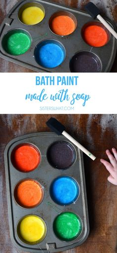 Bath Paint Soap and cornstarch rainy day activity