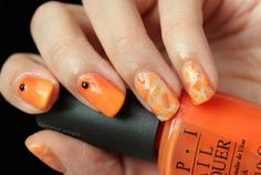 "Mosaic nails using three shades of Orange   Hello my lovelies! Happy Hump day! I have missed you!  Last week was terrible I was feeling under the weather with a temperature and the flu. I dragged myself through the weekend on Monday my hubby left for a business trip and the chaos unleashed at the Polished Polyglot's house.  Today's post will be a quick one playing catch up with last's week prompt for the ""40 Great Nail Art Ideas"" challenge.The long weekend is almost here are you taking…"