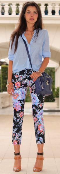 1383c5aa0a288 Floral pants and chiffon blue shirt Maxi Floral, Floral Print Pants, Floral  Jeans,