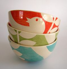 Cute but pricey!!!  They would be fun to do at a paint-your-own pottery place, though, using masking tape to block off the designs.