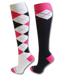 Pink, black and white Argyle knee high socks! Super fun to mix-n-match. www.sportskatz.com