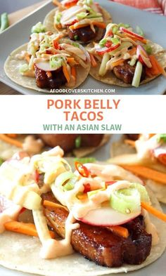 Tacos with Asian Slaw Pork belly tacos are a treat, no matter how many times you make them (weekly, anyone? Use pork belly strips to make these in a snap, top with a quick Asian slaw and that's dinner, sorted. Pork Recipes, Asian Recipes, Mexican Food Recipes, Cooking Recipes, Healthy Recipes, Hawaiian Recipes, Easy Recipes, Chef Recipes, Asian Tacos