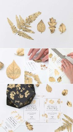 DIY gold leaf wedding invitations