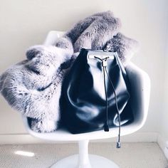 luxury luxe living: mink fur lilac coat, black leather backpack (nb)