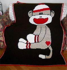 sock monkey crochet afghan pattern