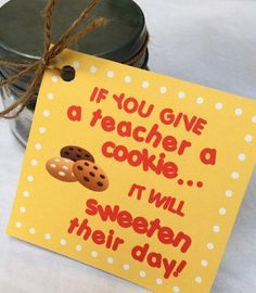 Get on the teachers good side with these cute back to school tags! Once you have purchased the PDF file, simply print on card stock, cut out and attach gift tag to everyones favorite...cookies! Super easy and much appreciated! NOTE: Please message me BEFORE you pay if you would like this personalized. (i.e….From, Cindy or To, Mrs. Moffett) and I will make a private listing for you to purchase. INCLUDES: One page with six yellow printable gift tags with: If you give a teacher a cookie...it...