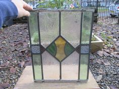 Antique Stained Glass Panel Architectural Salvage Vintage Art Deco Diamond Old