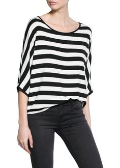 MANGO - Tweekleurig gestreept T-shirt