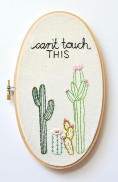 Decoración de cactus. Bordado a mano. Arte del aro del por KimArt