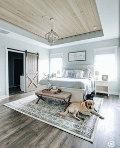 """DIY Expert and Decor Guru on Instagram: """"Bedroom goals á la Tracy @remingtonranchfarmhouse.  I am swooning over this beautiful paint color (sea salt by Sherwin Williams). Every…"""" Shag Rug, Rugs, Home Decor, Master Bathroom, Shaggy Rug, Farmhouse Rugs, Homemade Home Decor, Master Bath, Carpet"""