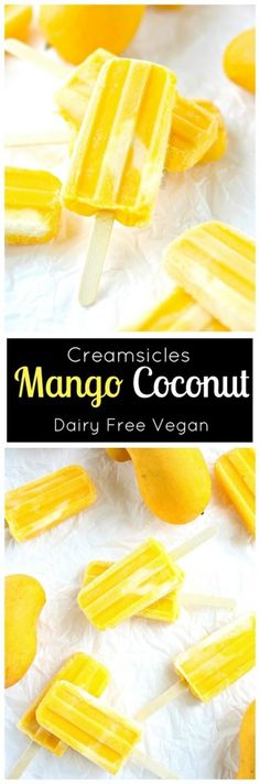 Mango Popsicle Creamsicle with Coconut (dairy free Vegan) Refreshing mango and cream make these easy 2 ingredient popsicles. Mango Popsicle Creamsicle with Coconut (dairy free Vegan) Refreshing mango and cream make these easy 2 ingredient popsicles. Mango Popsicles, Homemade Popsicles, Coconut Milk Popsicles, Sugar Free Popsicles, Smoothie Popsicles, Healthy Popsicles, Smoothie Cleanse, Juice Cleanse, Smoothie Recipes