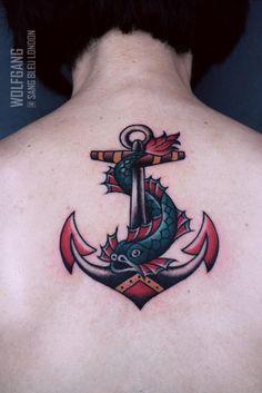 Done @sbldnttt thank you Hannah! For bookings: wolfgangtattooer@gmail.com  #tattoo #tattoos #traditional #traditionaltattoo #anchor #fish #sailortattoo #travel #nautical #wolfgang #sangbleulondon #london #dalston