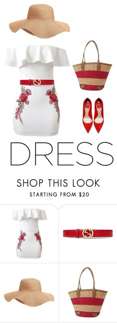 """""""Off shoulder dress"""" by amanda-lalonde ❤ liked on Polyvore featuring Gucci and Old Navy"""