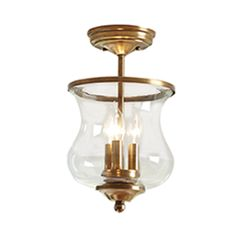 $69 Lowes allen + roth Yately 8.68-in W Specialty Brass Clear Glass Semi-Flush Mount Light