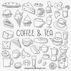 Iconos de alimentos esbozados