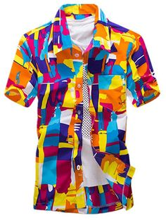 Color Block Abstract Printed Hawaiian Shirt - ORANGE L