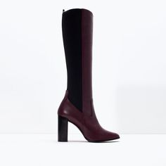 Image 1 of Leather tall boot from Zara