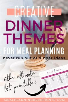 Running out of weekly meal planning ideas? Use this ultimate list of dinner theme night ideas and ma Family Meal Planning, Budget Meal Planning, Meal Planning Printable, Monthly Meal Planner, Weekly Menu, Dinner Themes, Dinner Ideas, Party Themes, Dinner Recipes