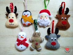 Ozdoby choinkowe z filcu ozdoby świąteczne filc mikołaj bałwanek pingwinek ciastek renifer Christmas Decorations, Christmas Ornaments, Holiday Decor, Felt Crafts, Christmas Time, Crafty, Fun, Home Decor, Panda