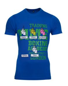 front Avenster Boxing Blue Printed Men's Round Neck T-Shirt