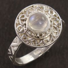 Natural RAINBOW MOONSTONE Gemstone Ethnic 925 Sterling Silver Ring Size US 5.75 #Unbranded